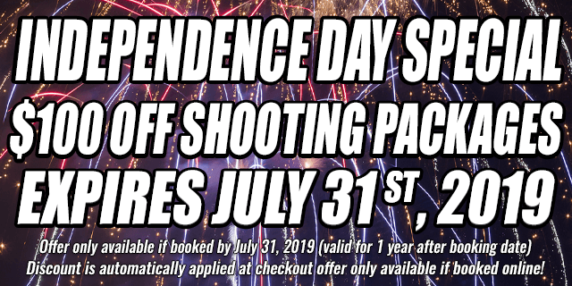 Independence Day Special $100 OFF shooting Packages • expires july 31 st, 2019
