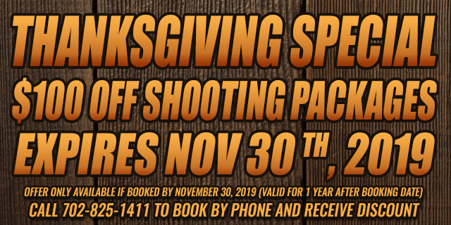 Thanksgiving Special $100 OFF shooting Packages • expires Nov 30th, 2019